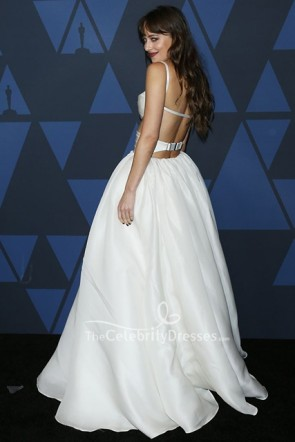 Dakota Johnson White Two Pieces Ball Gown Governor's Awards TCD8702