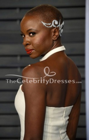 Danai Gurira White Halter Evening Gown 2018 Oscar Party Dress TCD7785