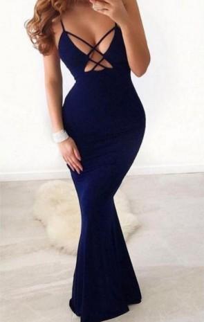 Dark Navy Sexy Cutout Spaghetti Straps Sleeveless Mermaid Dress TCD9107