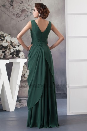 Dark Green Chiffon Prom Gown Evening Formal Dress