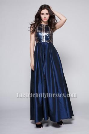 Dark Navy A-Line Prom Dress Evening Gowns TCDBF091