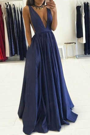Sexy Dark Navy Deep V-neck Sleeveless Evening Dress