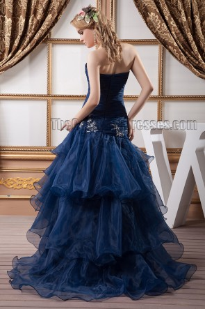 Dark Navy Strapless Organza Embroidered Evening Dress Prom Gown