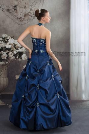 Dark Royal Blue Halter A-Line Formal Pageant Dresses