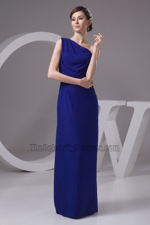 Dark Royal Blue One Shoulder Bridesmaid Dresses Prom Gowns
