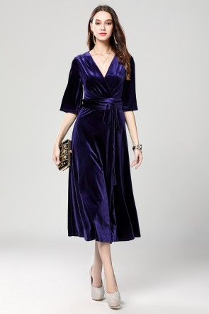 Dark Royal Blue Velvet Cocktail Semi Formal Dresses