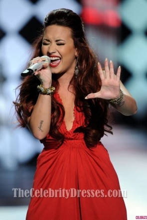 Demi Lovato Red High Low Prom Dress 2012 People's Choice Awards Red Carpet