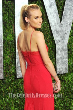 Diane Kruger Red Prom Dress 2012 Vanity Fair Oscar Part