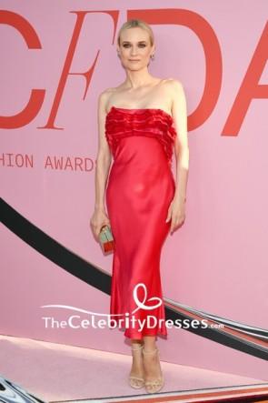 Diane Kruger Red Ruffles Ankle Strapless Column Evening Dress 2019 CFDA Fashion Awards