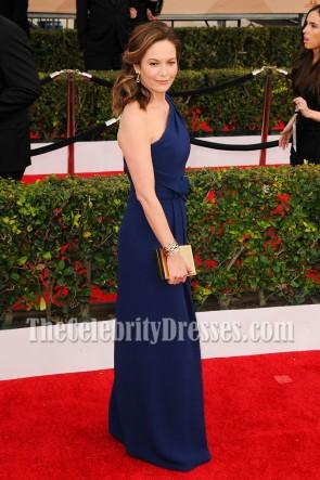 Diane Lane Navy One Shoulder Evening Dress 2016 SAG Awards TCD6978