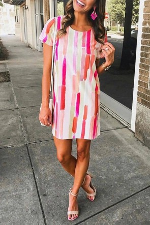 Digital Print Multicolor Dress