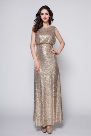 Discount Champagne Sequined Prom Gown Evening Dress