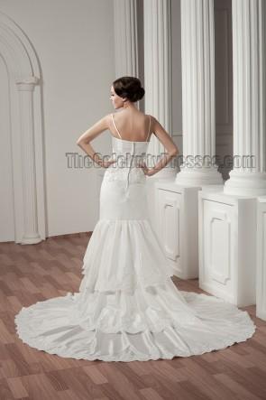 Discount Chapel Train Spaghetti Straps Taffeta Wedding Dress