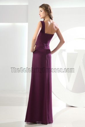 Discount Grape One Shoulder Chiffon Prom Dress Evening Dresses