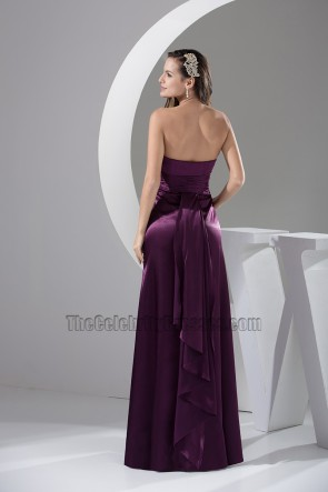 Discount Grape Strapless A-Line Bridesmaid Prom Dresses