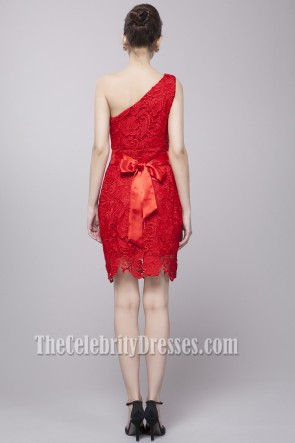 Discount Red Lace One Shoulder Party Cocktail Dresses