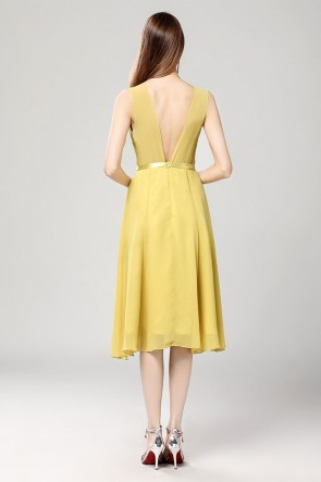 Discount Yellow Chiffon Summer Cocktail Party Dress TCDBF2020