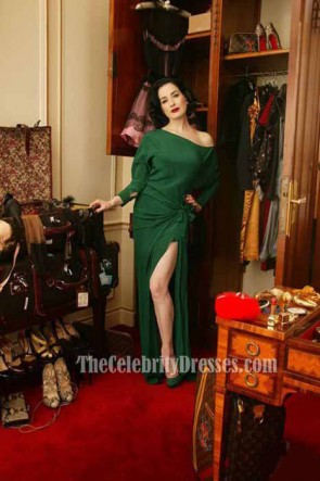 Dita Von Teese's Vintage-style Dressing Room Dark Green Evening Dress Long Sleeves Prom Gown TCD6723