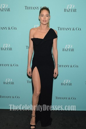 Doutzen Kroes Black One Shoulder Floor- Length Evening Dress Harper's BAZAAR 150th Anniversary Event