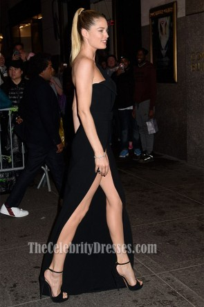 Doutzen Kroes Black One Shoulder Evening Dress Harper's BAZAAR 150th Anniversary Event TCD7217