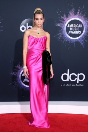 Dua Lipa Fuchsia Strapless Dress 2019 American Music Awards