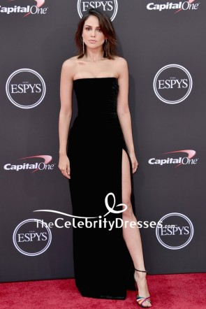 Eiza González Black Velvet Strapless Evening Dress 2018 ESPYS Red Carpet