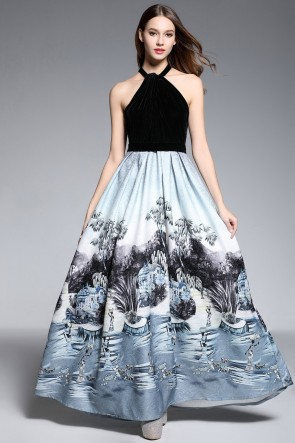 Elegant Floral Halter Ball Gown Printed A-line Dress
