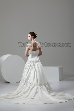 A-Line Strapless Chapel Train Wedding Dress With Beading