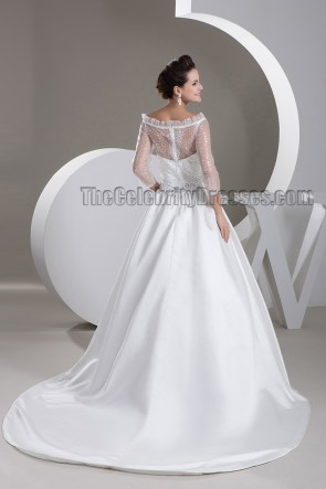 Elegant Beaded Off-the-Shoulder A-Line Chapel Train Wedding Dress