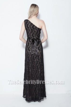 Elegant Black One Shoulder Lace Evening Formal Dresses TCDB105