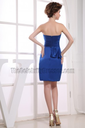 Elegant Royal Blue Strapless Cocktail Dress Party Dresses