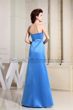 Elegant Blue Strapless Prom Gown Evening Dress