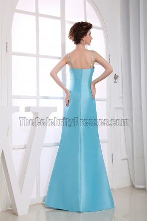 Elegant Blue Spaghetti Straps Bridesmaid Dress Prom Dresses