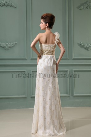 Lace One Shoulder Embroidery Evening Dress Prom Formal Dresses
