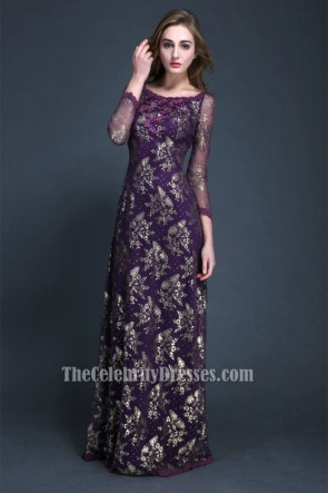 Elegant Purple Long Sleeve Evening Dress Formal Gown
