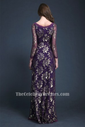 Elegant Purple Long Sleeve Evening Dress Formal Gown TCDBF045