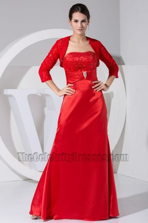 Elegant Red Strapless Formal Dress Prom Evening Dresses