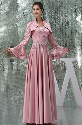 Skin Pink Beaded Strapless Formal Mother Of Bride Dresses