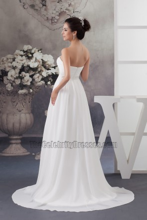Elegant Strapless A-Line Chiffon Wedding Dress Bridal Gown