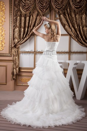 Elegant Strapless A-Line Embroidered Ruffles Wedding Dress