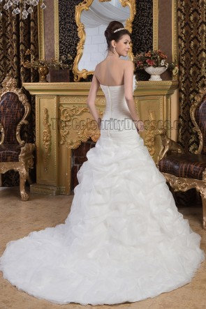 Elegant Strapless A-Line Ruffles Chapel Train Wedding Dresses