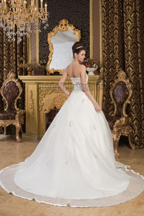 Elegant Strapless Embroidered Chapel Train Wedding Dresses
