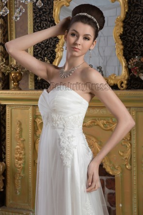 Elegant Strapless A-Line Lace Sweep/Brush Train Wedding Dress