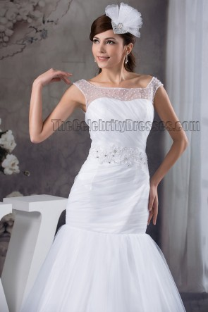 Elegant Trumpet /Mermaid Beaded Chapel Train Wedding Dress