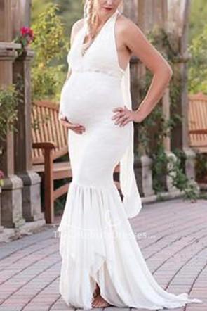 Elegant White Halter V-neck Mermaid Photoshoot Maternity Gowns