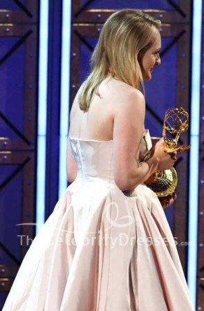 Elisabeth Moss Pink Strapless Backless Ball Dress 2017 Primetime Emmy Awards TCD7527