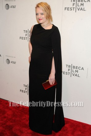 Elisabeth Moss Black Column Evening Dress Tribeca Film Fest Premiere Of 'The Handmaid's Tale' 2017 TCD7214