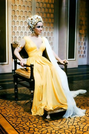 Elizabeth Taylor Yellow V-neck Ruffled A-line Prom Dress in Movie Cleopatra