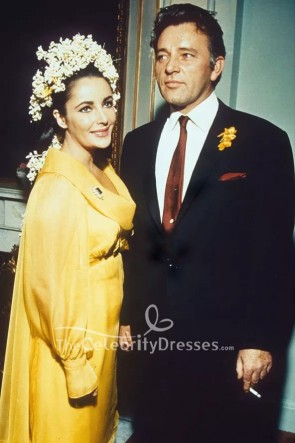 Elizabeth Taylor Yellow Long Sleeves Wedding Dress