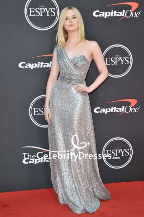 Elle Fanning Silver One-shoulder Sequined Formal Dress 2019 ESPYs